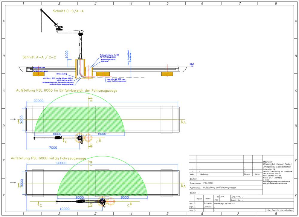 Maßblatt Arbeitsbereich mit 1,50 m Rundfundament